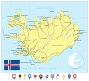 Карта Исландии и плоские указатели карты Стоковое Изображение