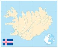 Карта Исландии отсутствие текста Стоковое фото RF