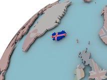 Карта Исландии с флагом Стоковое фото RF