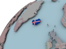 Карта Исландии с флагом Стоковые Фото