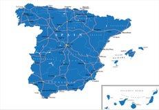 Карта Испании Стоковая Фотография RF