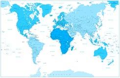Карта и континенты мира в цветах сини на белизне Стоковые Изображения RF