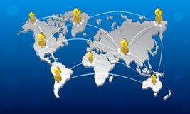 карта и доллар мира 3D Стоковая Фотография RF