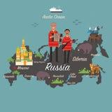 Карта и перемещение России Стоковая Фотография