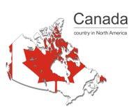 Карта и флаг Канады на черной предпосылке, иллюстрации вектора Стоковое Фото