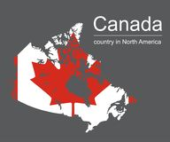 Карта и флаг Канады на черной предпосылке, иллюстрации вектора Стоковые Фотографии RF