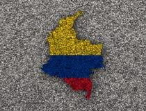 Карта и флаг Колумбии на маковых семененах Стоковые Изображения