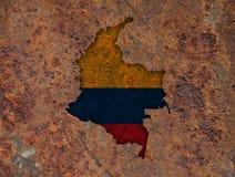 Карта и флаг Колумбии на ржавом металле Стоковые Изображения