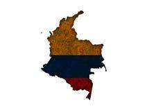 Карта и флаг Колумбии на ржавом металле Стоковая Фотография RF
