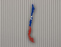 Карта и флаг Чили на волнистом железе Стоковое Фото
