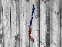 Карта и флаг Чили на выдержанной древесине Стоковое Изображение