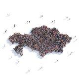 Карта Казахстан формы группы людей Стоковая Фотография RF