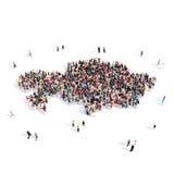 Карта Казахстан формы группы людей Стоковые Изображения