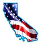 Карта Калифорния с иллюстрацией флага Стоковое фото RF