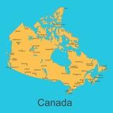 Карта Канады с городами на голубой предпосылке, иллюстрации вектора Стоковое Фото