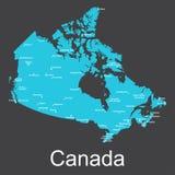 Карта Канады с городами на темной предпосылке, иллюстрации вектора Стоковое фото RF