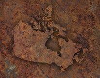 Карта Канады на ржавом металле стоковое фото rf