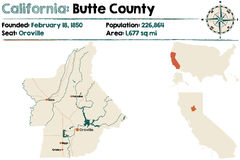Карта Калифорнии - Butte County Стоковые Фотографии RF