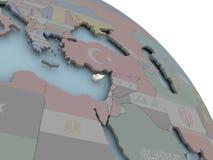 Карта Кипра с флагом Стоковая Фотография