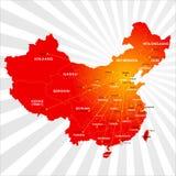 Карта Китая вектора Стоковое Изображение