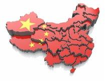 Карта Китая в цветах национального флага Стоковое Изображение RF