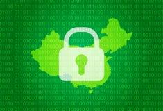 Карта Китая иллюстрация с предпосылкой замка и бинарного кода интернет преграждая, нападение вируса, уединение защищает иллюстрация штока