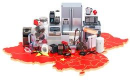 Карта Китая с домом и кухонными приборами, переводом 3D бесплатная иллюстрация