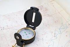 карта компаса топографическая Стоковые Изображения