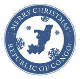 карта Конго Винтажный с Рождеством Христовым штемпель Конго иллюстрация вектора