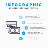 Карта, кредит, оплата, шаги шаблона 5 Infographics денег голубые Линия шаблон вектора значка иллюстрация вектора