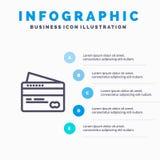 Карта, кредит, оплата, шаги шаблона 5 Infographics оплаты голубые Линия шаблон вектора значка иллюстрация штока