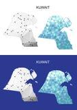Карта Кувейта в геометрическом полигональном стиле Абстрактный треугольник самоцветов Стоковые Фотографии RF