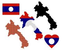 Карта Лаоса Стоковое Фото