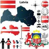 Карта Латвия Стоковое Фото