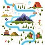 Карта леса или древесин и туризма горы иллюстрация штока