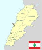 карта Ливана Стоковое Изображение RF