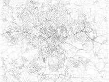 Карта Лидса, спутникового взгляда города, улиц и домов, Англии Великобритания Стоковое Изображение RF
