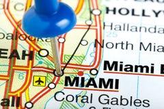 Карта Майами Флориды Pushpin Стоковое Изображение RF