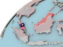 карта Малайзии флага Стоковые Фото