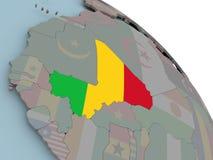 Карта Мали с флагом Стоковые Фото