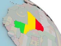 Карта Мали с флагом Стоковые Изображения RF