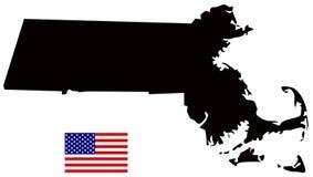 Карта Массачусетса с государством флага США в области Новой Англии северовосточных Соединенных Штатов Стоковые Изображения RF