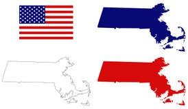 Карта Массачусетса с государством флага США в области Новой Англии северовосточных Соединенных Штатов Стоковое фото RF
