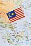 Карта Малайзии штырь флага стоковое изображение