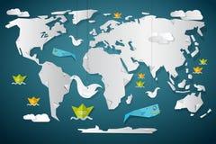 Карта мира вектора бумажная с рыбами бесплатная иллюстрация