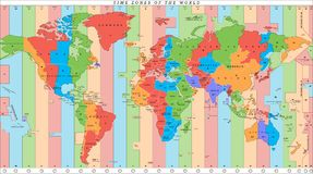 Карта мира вектора детальная с часовыми поясами стоковое изображение
