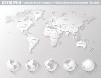 Карта мира вектора затеняемая серым цветом Стоковые Изображения RF