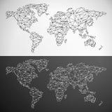 Карта мира вектора низкая поли Стоковые Изображения