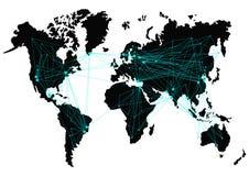 Карта мира вектора с трассами между странами изолировано Стоковые Изображения RF