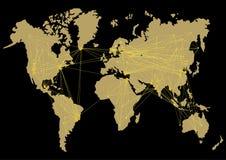 Карта мира вектора с трассами между странами Стоковые Фотографии RF